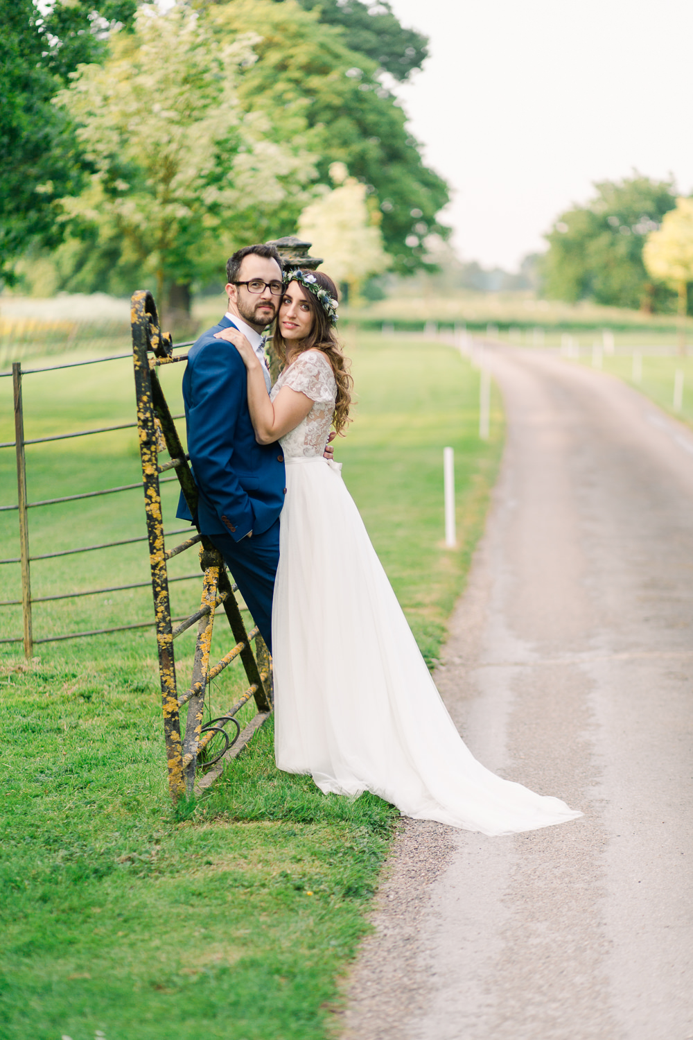 Bride Bridal Dress Gown Lace Top Back Cap Sleeves Tulle Skirt Saltmarshe Hall Wedding Jessica Davies Photography