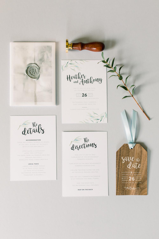 Stationery Invite Invitation Calligraphy Botanical Wax Seal Saltmarshe Hall Wedding Jessica Davies Photography