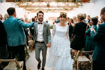 Cool Botanical & Veggie Studio Wedding with a Vintage Lace Dress