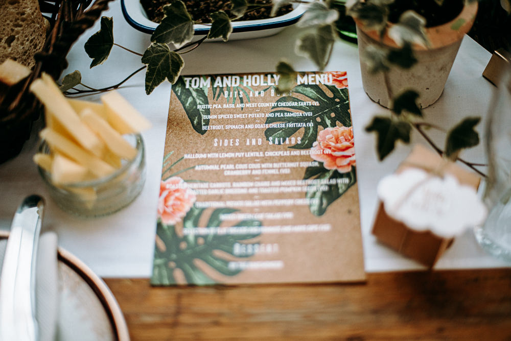 Floral Tropical Botanical Stationery Menu Silk Mill Wedding Andrew Brannan Photography