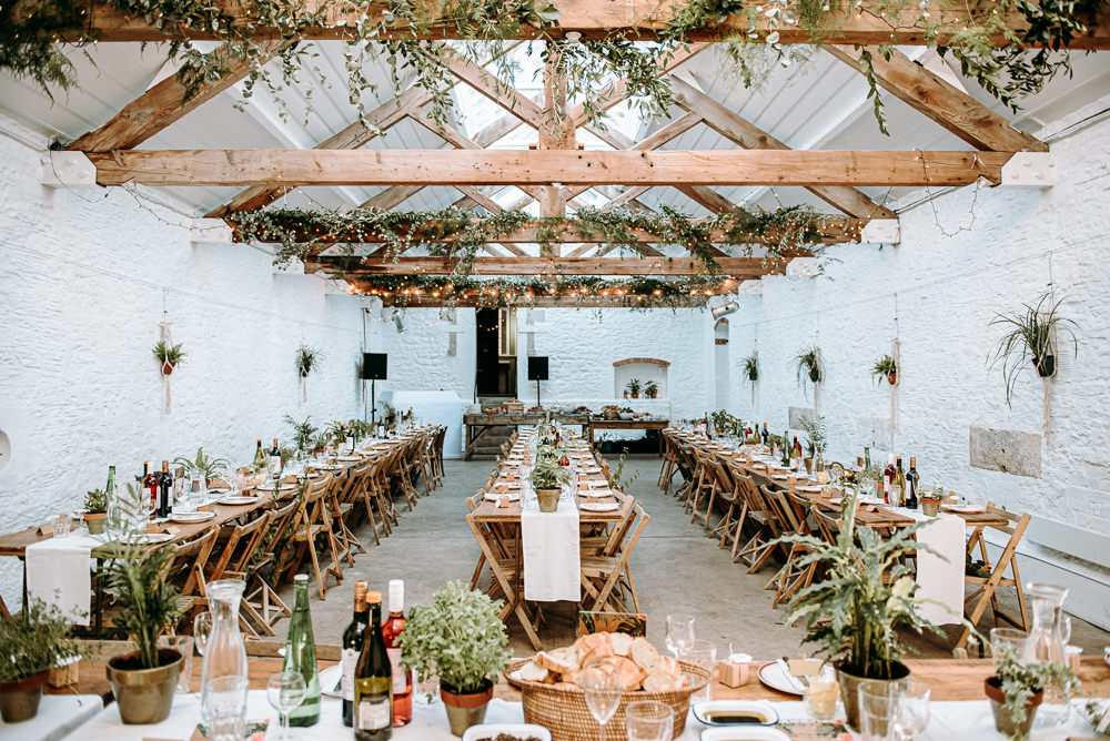 Long Wooden Tables Decor Decoration Chairs Pot Plants Greenery Foliage Rustic Silk Mill Wedding Andrew Brannan Photography