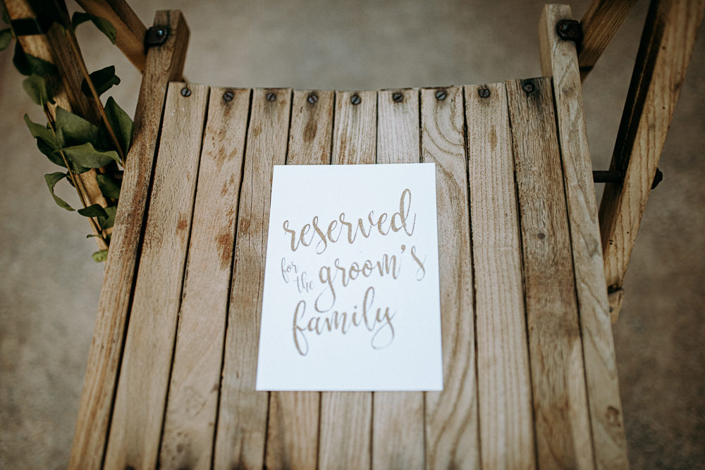 Reserved Seating Sign Chair Ceremony Silk Mill Wedding Andrew Brannan Photography