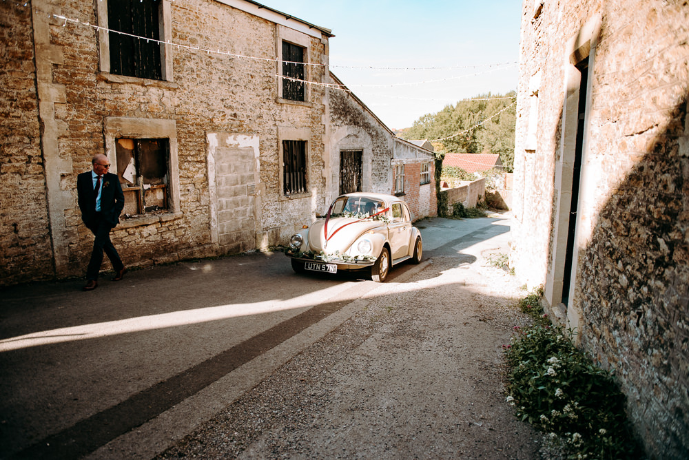 VW Beetle Car Transport Silk Mill Wedding Andrew Brannan Photography
