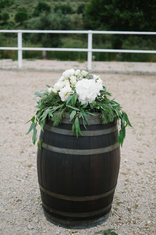 Wooden Barrel Flowers Spain Destination Wedding Jesus Caballero Photography