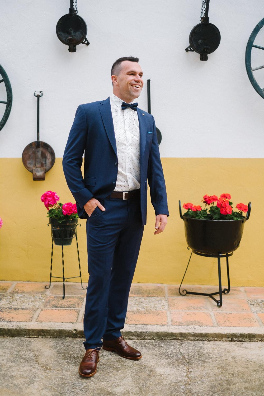 Groom Suit Navy Bow Tie Spain Destination Wedding Jesus Caballero Photography