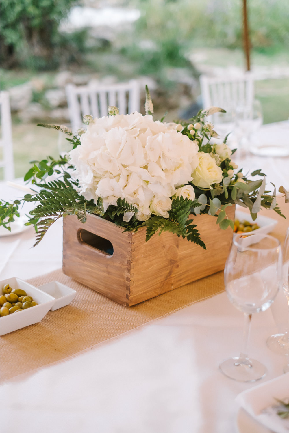 Crate Wooden Box Flowers Centrpiece Table Decor Hydrangea Rose Greenery Foliage Spain Destination Wedding Jesus Caballero Photography