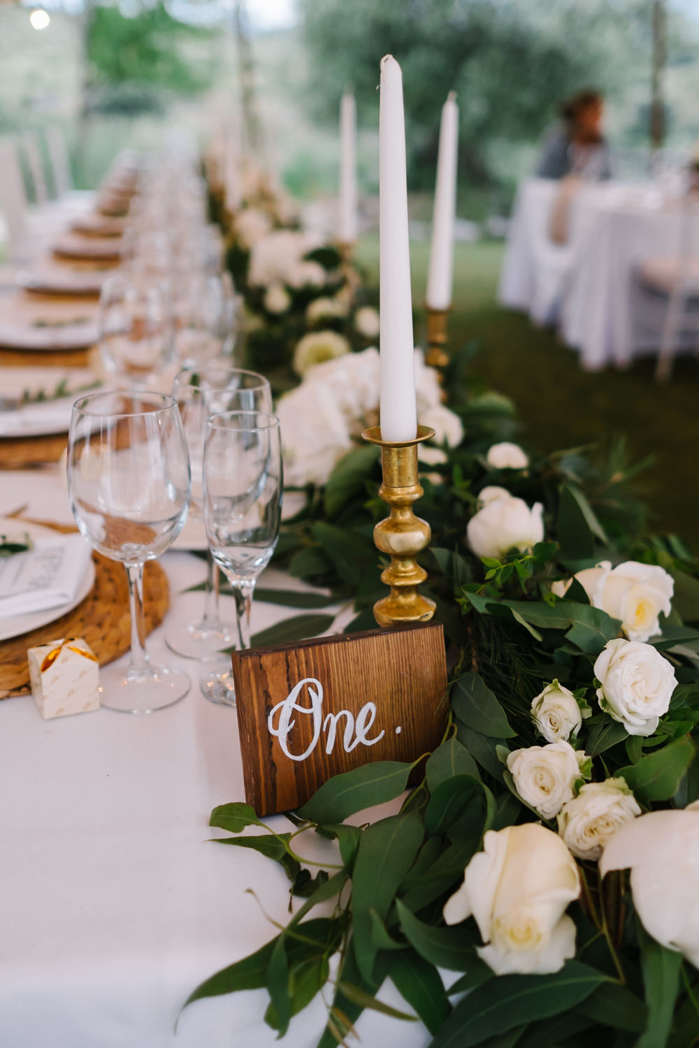 Greenery Foliage Table Centrepiece Runner Decor Runner Garland Swag Candles Spain Destination Wedding Jesus Caballero Photography
