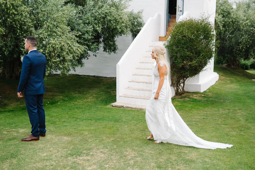 First Look Bride Spain Destination Wedding Jesus Caballero Photography