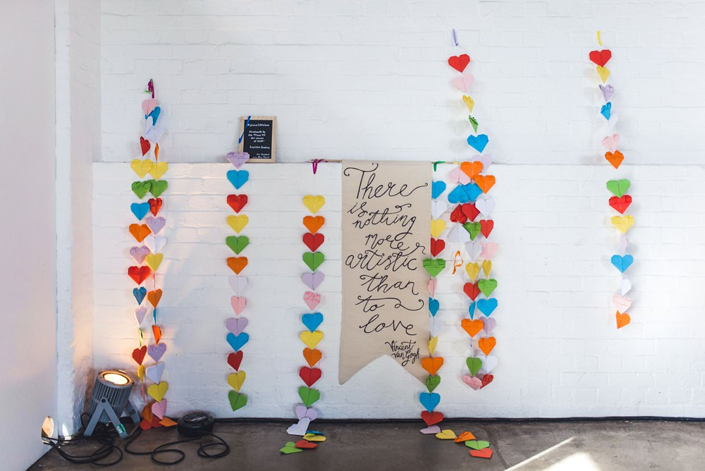 Sign Banner Love Quote Origami Hearts Trinity Buoy Wharf Wedding Babb Photo