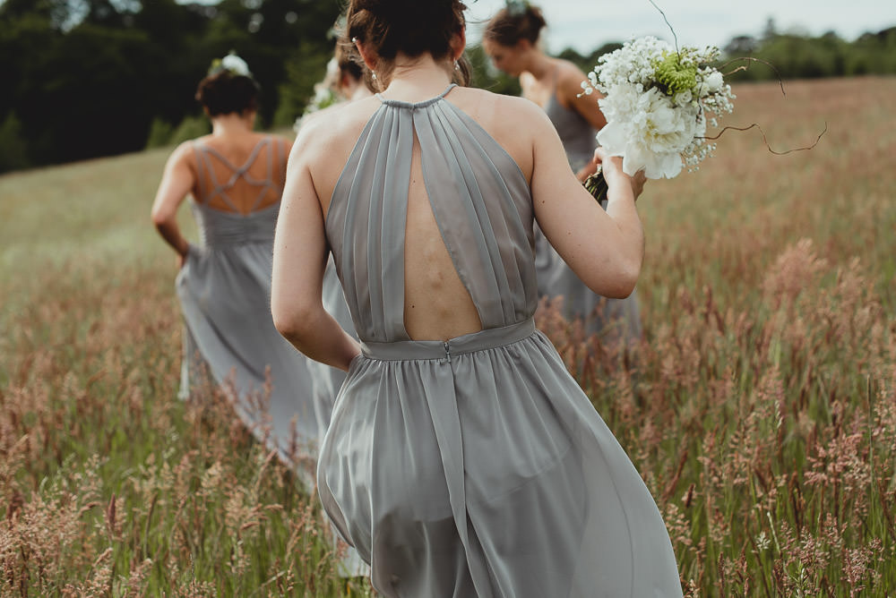 Grey Bridesmaids Backless Halter Neck Weekend Long Wedding Georgia Rachael Photography