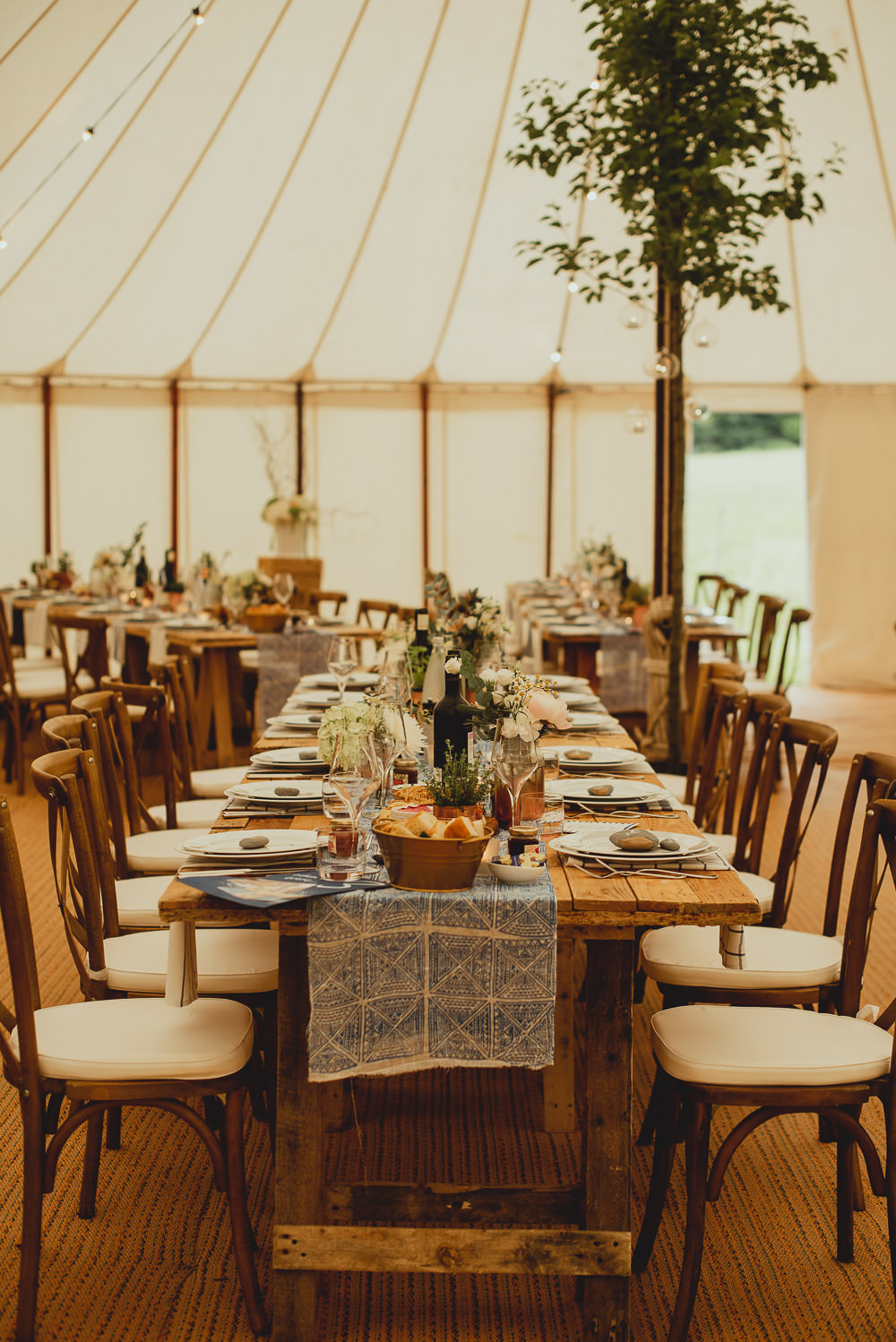 Sperry Tent Wooden Cross Back Chair Greenery Foliage Printed Table Runner Weekend Long Wedding Georgia Rachael Photography