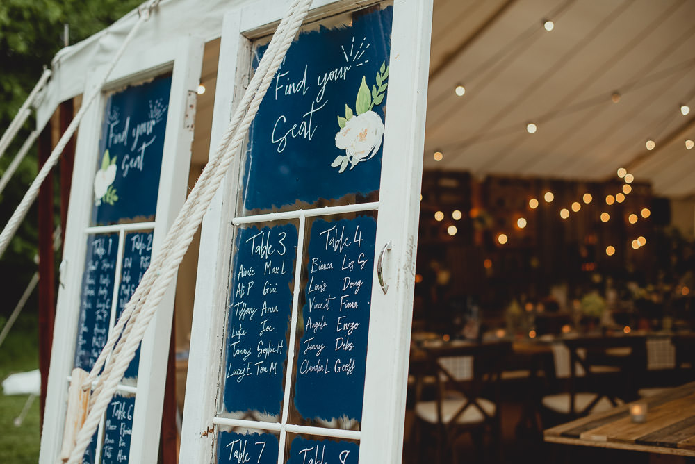 Window Pane Table Plan Painted Watercolour Weekend Long Wedding Georgia Rachael Photography