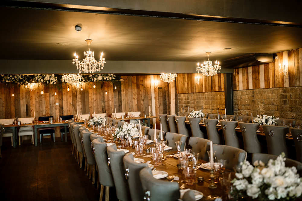 Chandeliers Reception Room Decor Decoration Long Tables Wharfedale Grange Wedding Hayley Baxter Photography