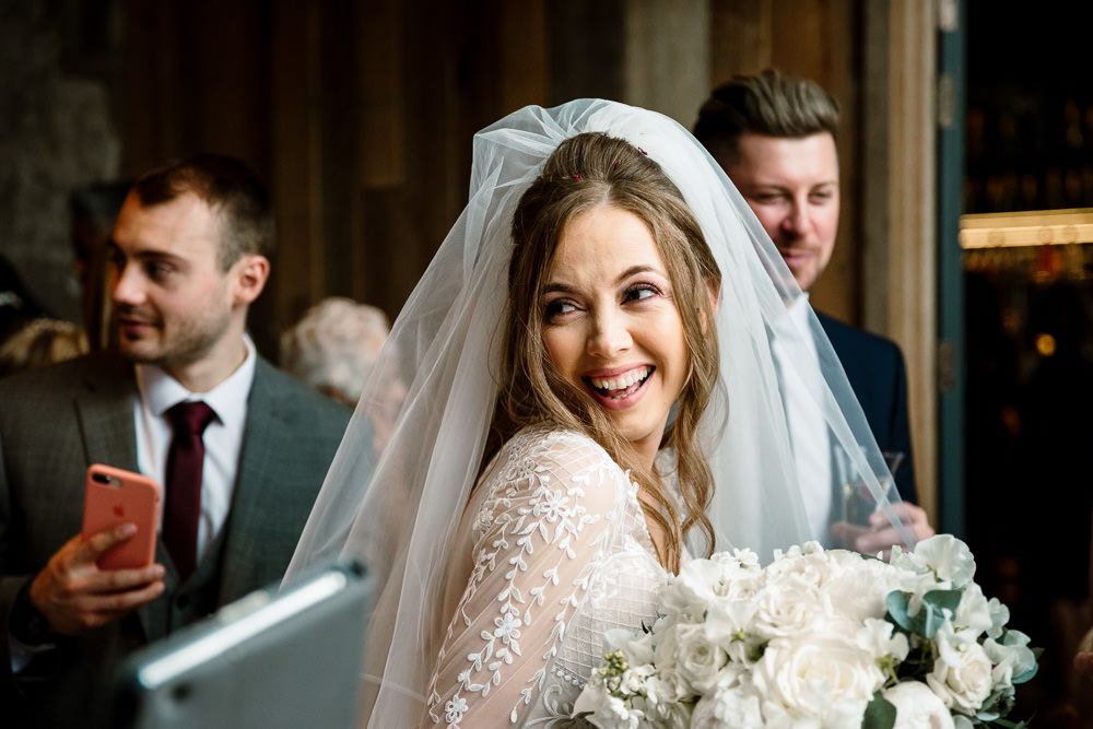 Bride Bridal Hair Curls Waves Veil Wharfedale Grange Wedding Hayley Baxter Photography