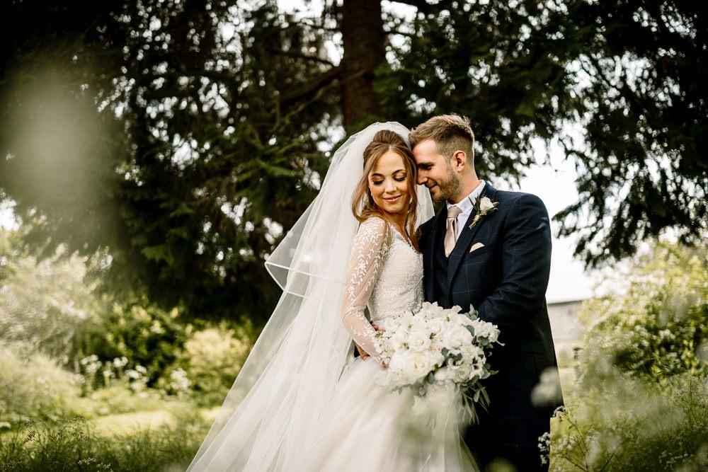 Groom Suit Navy Nude Tie Wharfedale Grange Wedding Hayley Baxter Photography