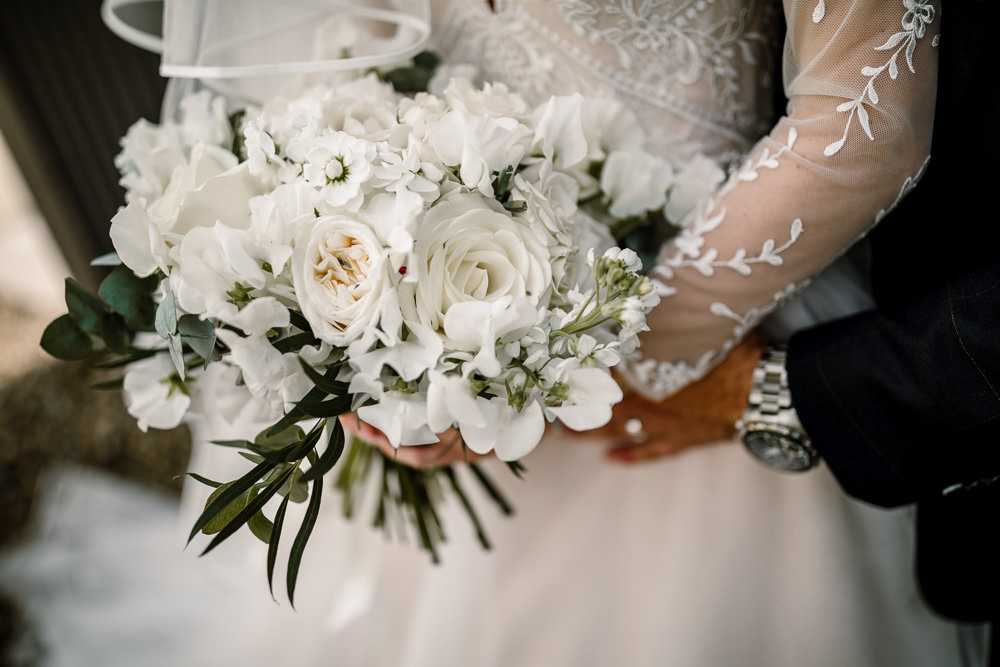 Bouquet Flowers Bride Bridal White Cream Rose Peonies Hydreangeas Wharfedale Grange Wedding Hayley Baxter Photography