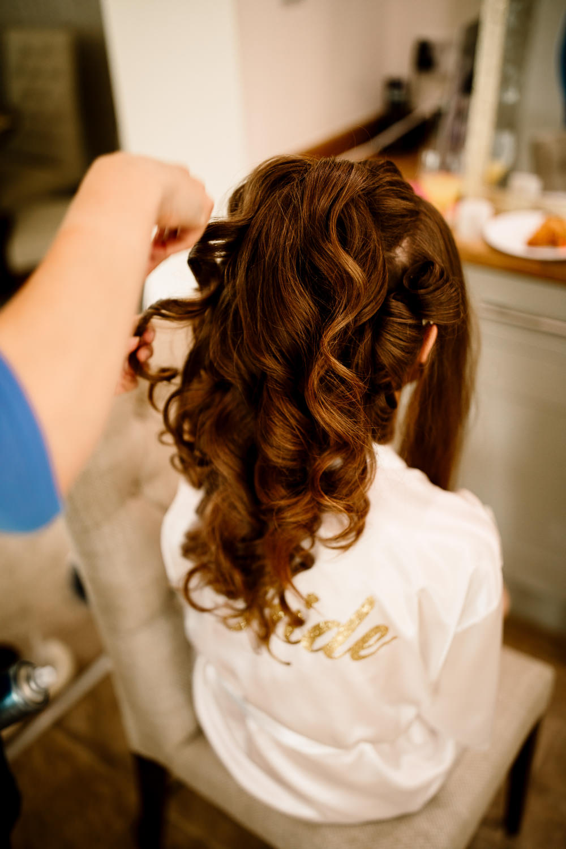 Bride Bridal Hair Curls Waves Wharfedale Grange Wedding Hayley Baxter Photography