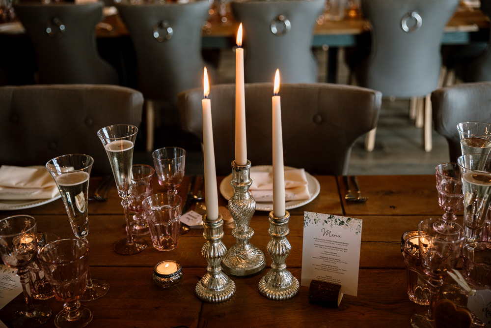Candle Sticks Decor Wharfedale Grange Wedding Hayley Baxter Photography
