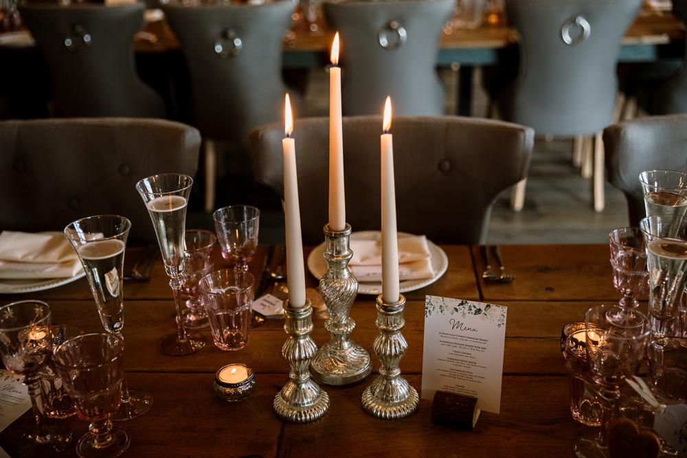 Candle Sticks Decor Wharfedale Grange Wedding Hayley Baxter Photography