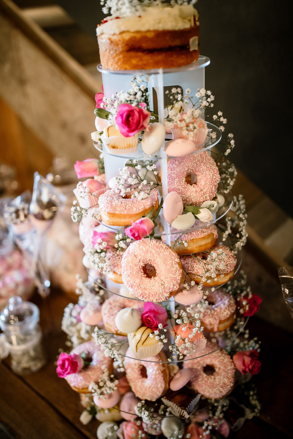 Donut Doughnut Tower Cake Wharfedale Grange Wedding Hayley Baxter Photography