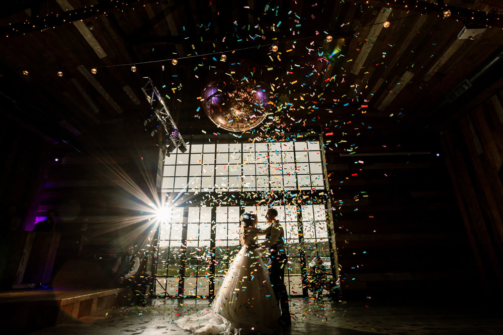 Confetti Cannon First Dance Wharfedale Grange Wedding Hayley Baxter Photography