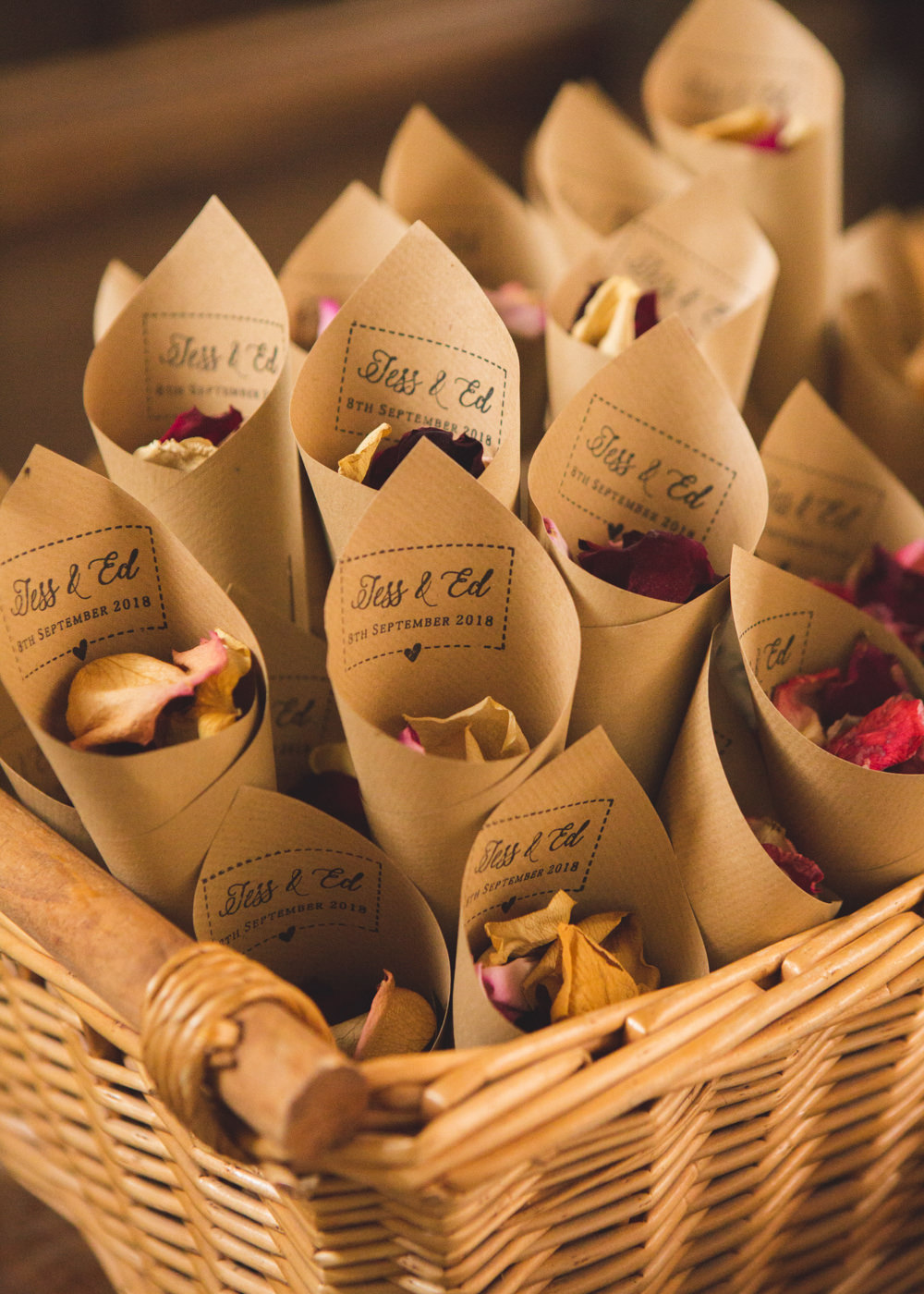 Confetti Cones Basket Petals Airbnb Wedding Pickavance Weddings