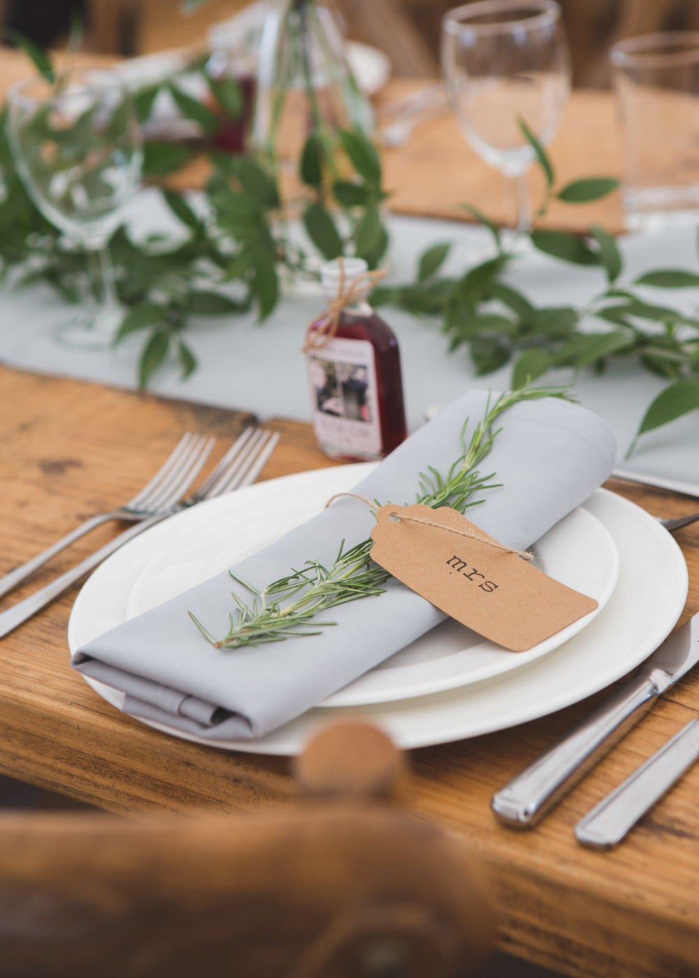 Place Setting Decor Napkin Rosemary Luggage Tag Place Name Airbnb Wedding Pickavance Weddings