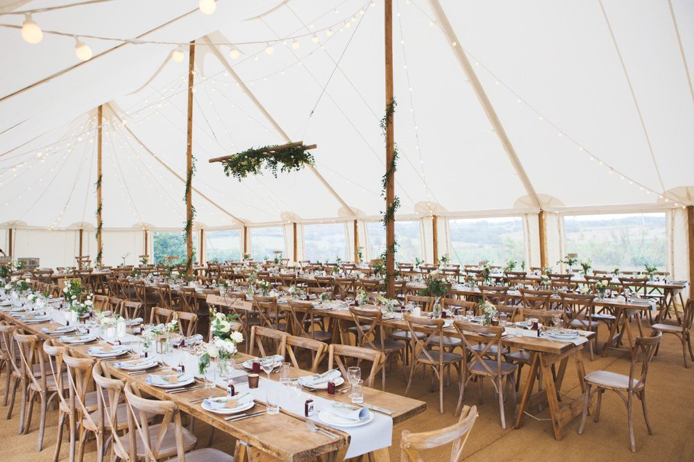Pole Tent Marquee Wooden Table Chairs Rustic Festoon Lights Greenery Airbnb Wedding Pickavance Weddings
