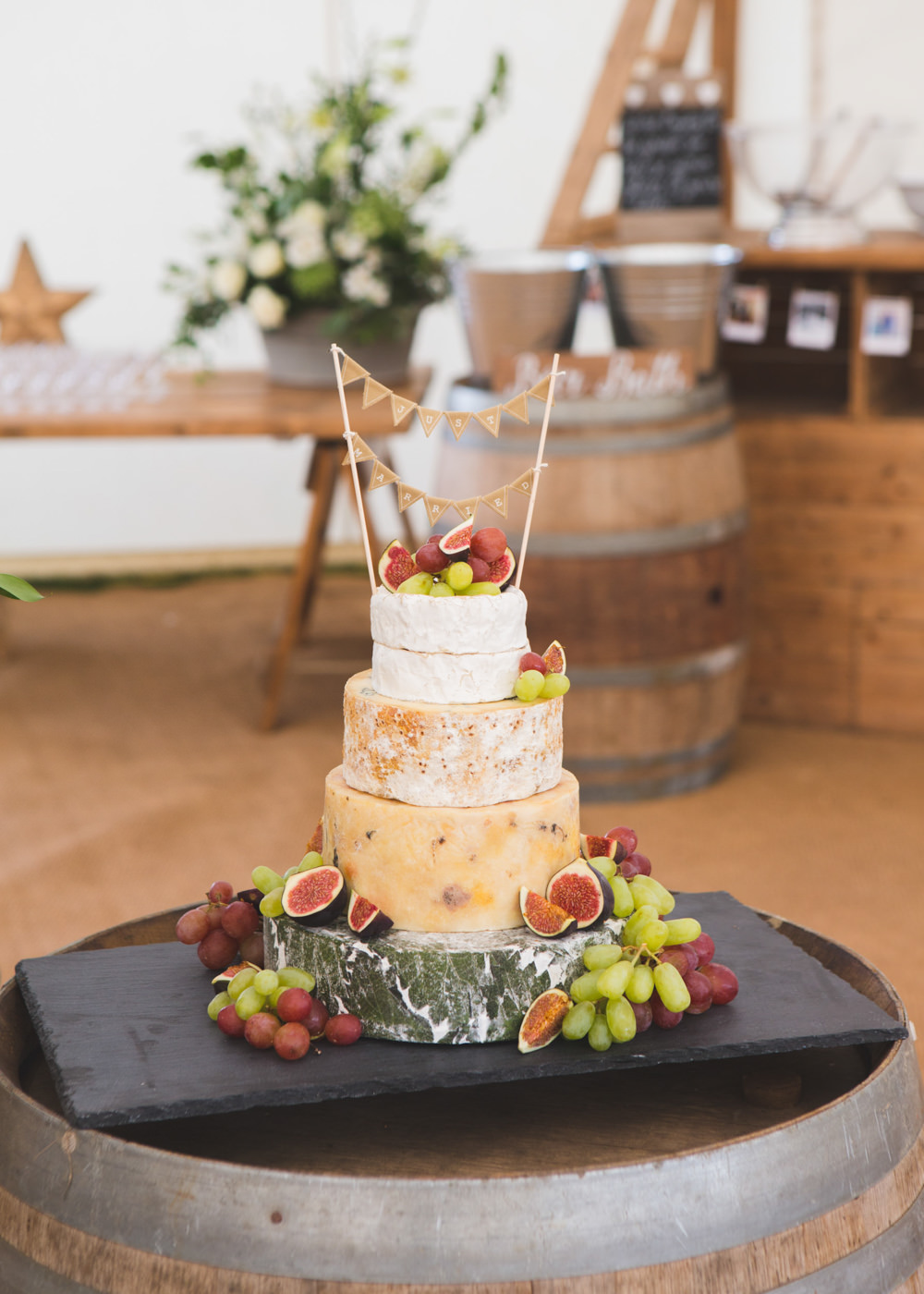 Cheese Tower Stack Cake Bunting Fruit Airbnb Wedding Pickavance Weddings
