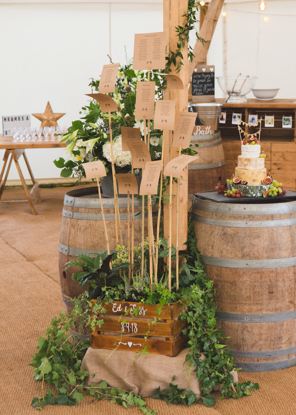 Seating Plan Table Chart Sticks Wooden Barrels Crate Greenery Foliage Airbnb Wedding Pickavance Weddings