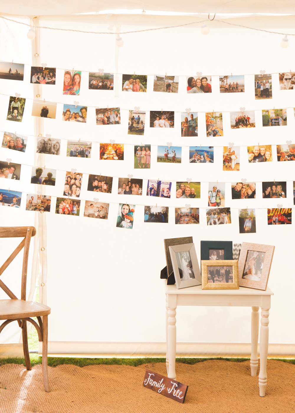 Photo Wall String Airbnb Wedding Pickavance Weddings