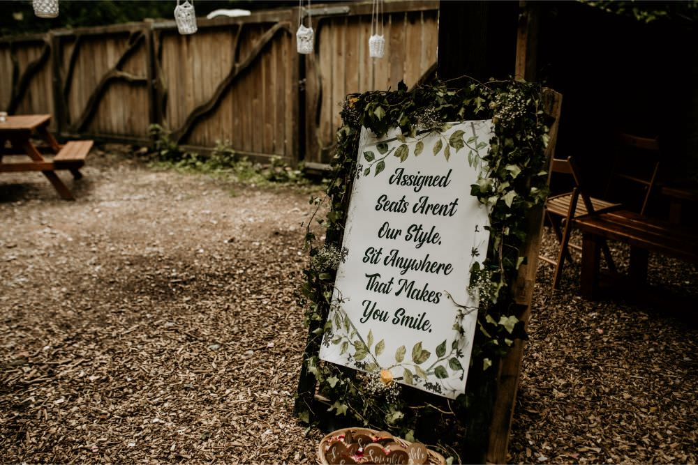 Ceremony Seating Sign Signage Signs Arnos Vale Wedding Chloe Mary Photography