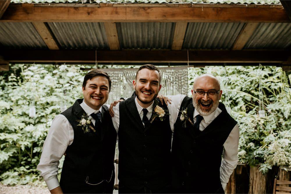 Groom Groomsmen Waistcoats Ties Jeans Arnos Vale Wedding Chloe Mary Photography