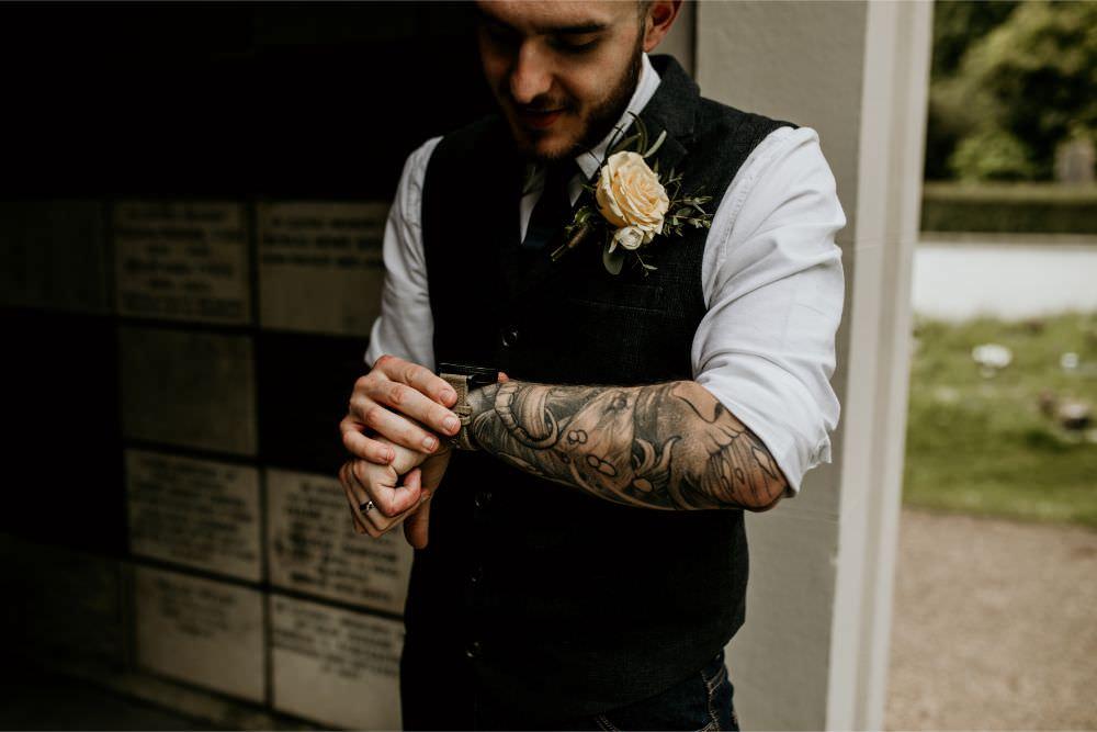 Groom Waistcoats Ties Jeans Arnos Vale Wedding Chloe Mary Photography