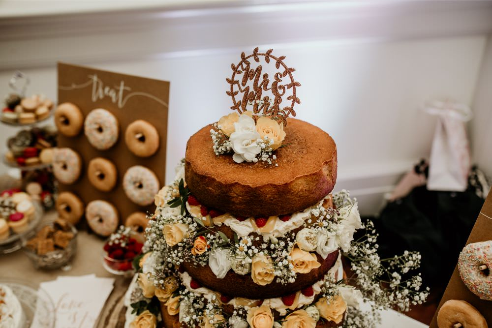 Naked Cake Flowers Topper Arnos Vale Wedding Chloe Mary Photography