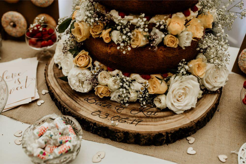 Naked Cake Flowers Log Slice Stand Arnos Vale Wedding Chloe Mary Photography