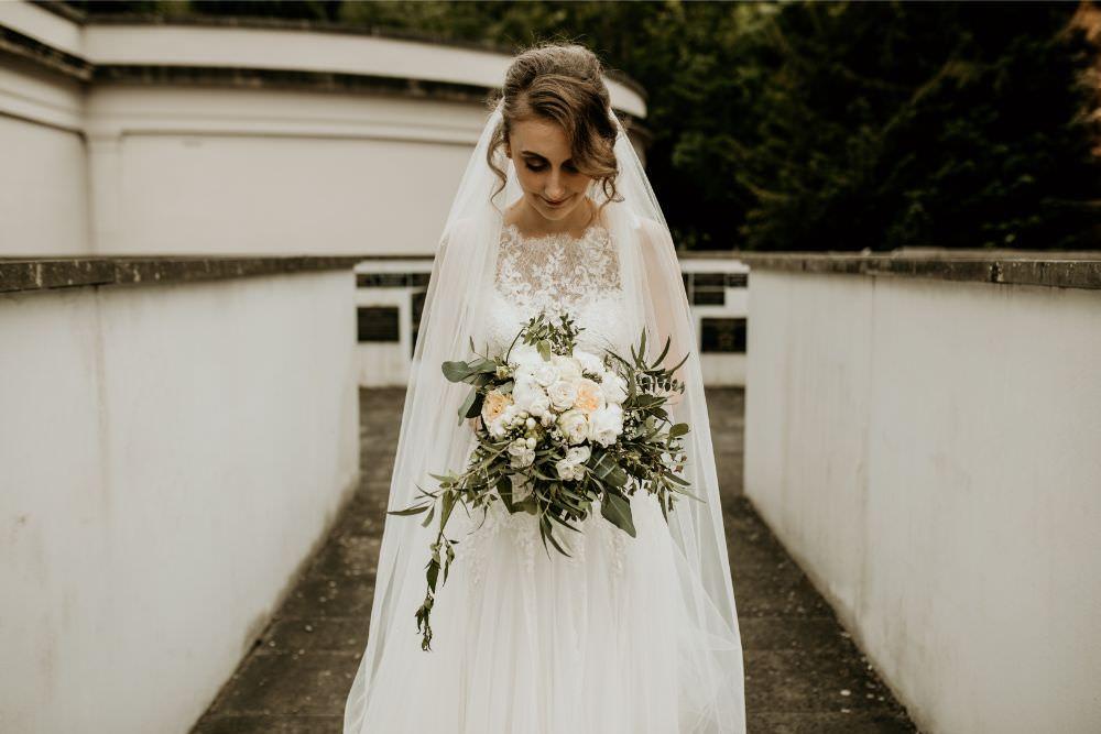 Bouquet Flowers Bride Bridal Rose Greenery Foliage Arnos Vale Wedding Chloe Mary Photography