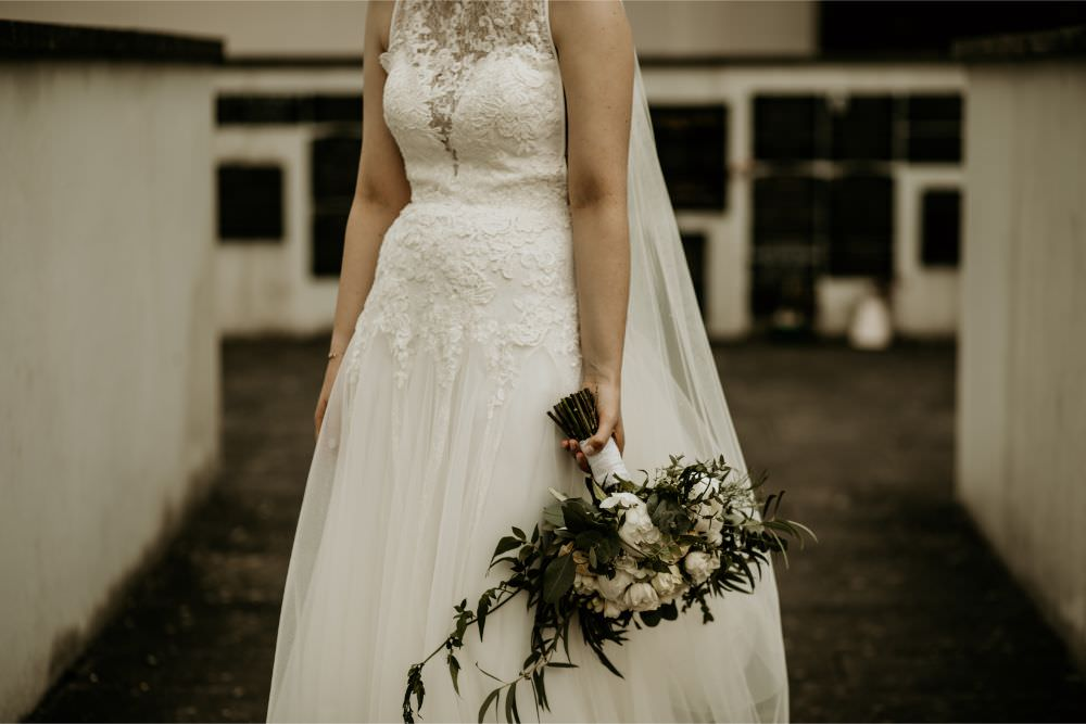 Bride Bridal Dress Gown Lace Tulle Veil Arnos Vale Wedding Chloe Mary Photography