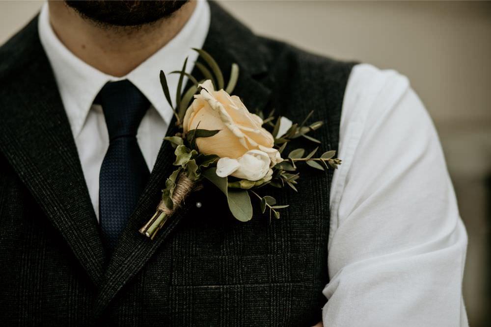 Groom Buttonhole Rose Arnos Vale Wedding Chloe Mary Photography