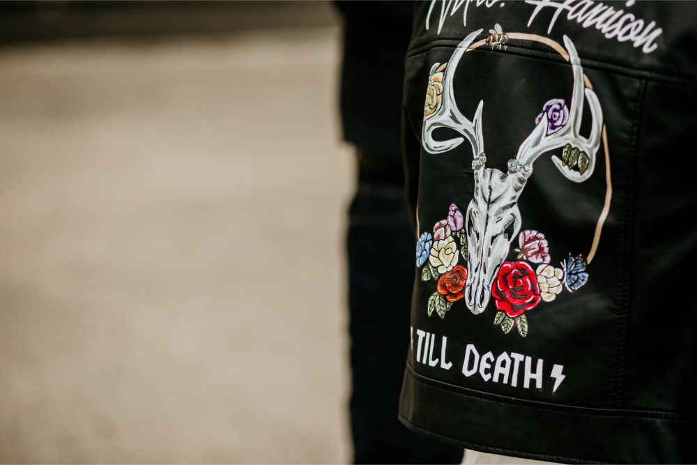 Bride Bridal Leather Jacket Painted Personalised Arnos Vale Wedding Chloe Mary Photography