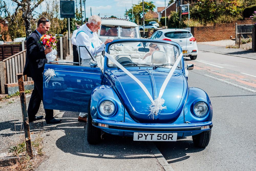 VW Beetle Car Transport Big Top Wedding Anna Pumer Photography