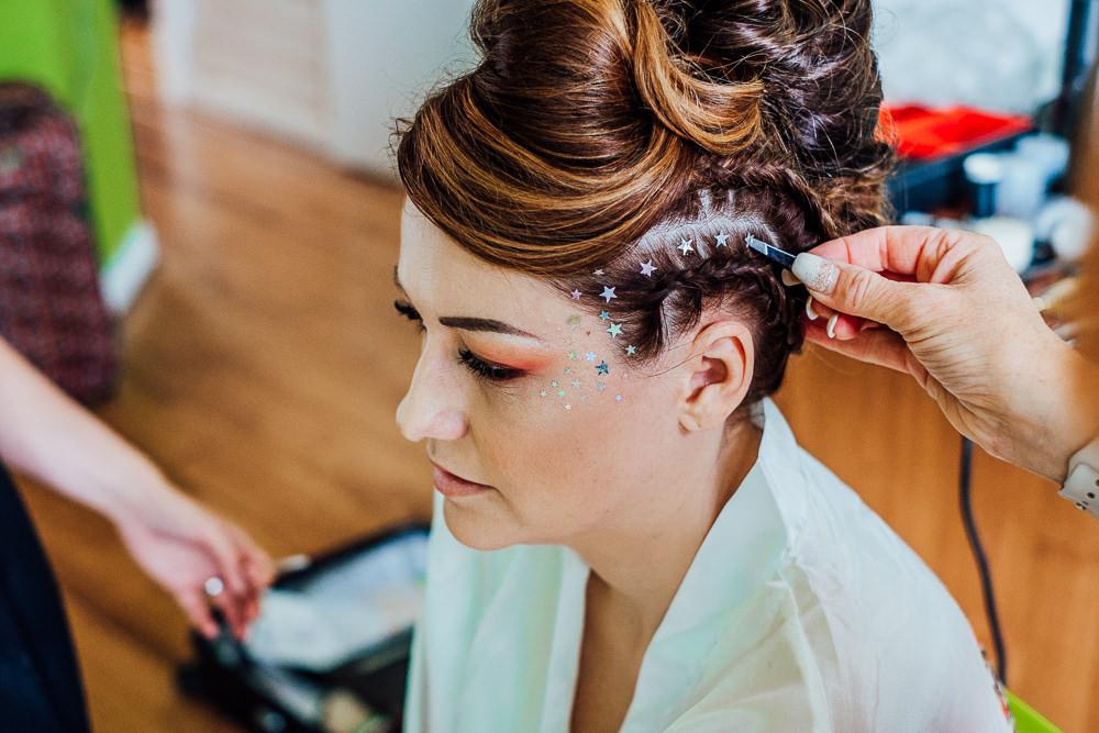 Bride Bridal Hair Style Up Do Mohawk Plait Braid Glitter Stars Big Top Wedding Anna Pumer Photography