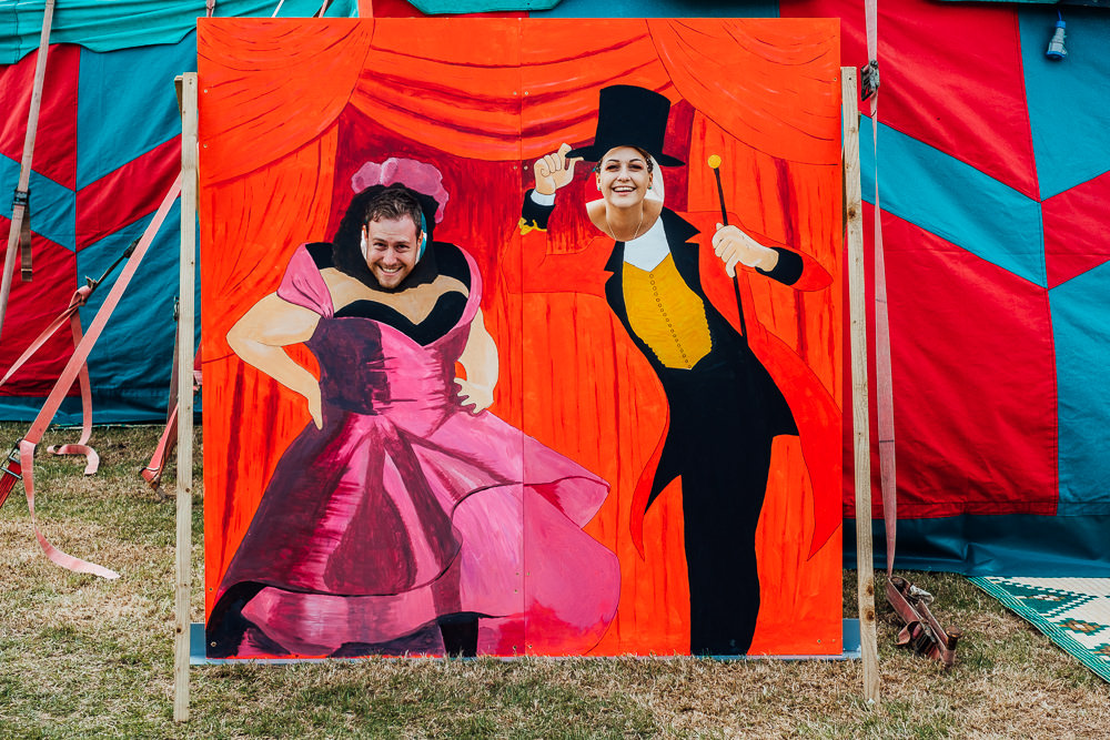 Cut Out Board Photobooth Circus Fairground Greatest Showman Big Top Wedding Anna Pumer Photography