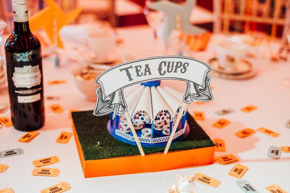 Fairground Ride Centrepieces Cut Out Decor Decoration Tables Big Top Wedding Anna Pumer Photography