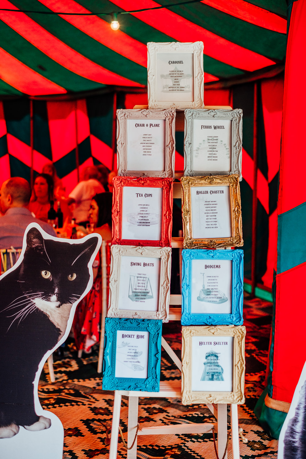 Frames Seating Plan Table Chart Cut Out Cats Boards Big Top Wedding Anna Pumer Photography