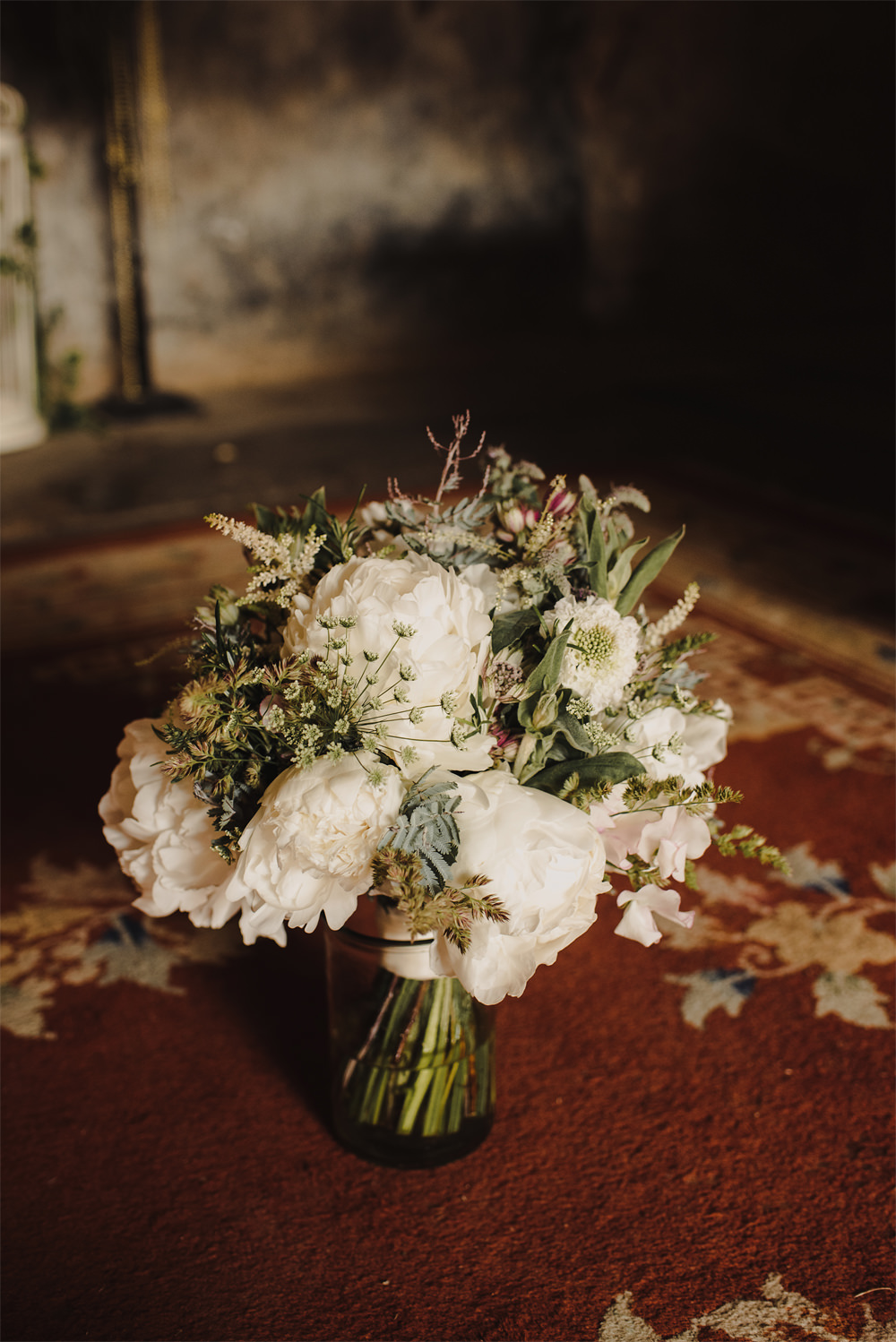 Bouquet Flowers Bride Bridal White Peony Peonies Foliage Greenery Cambo Estate Wedding Anna Urban Wedding Photography