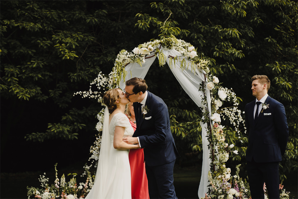 Flower Arch Greenery Foliage Fabric Ceremony Aisle Cambo Estate Wedding Anna Urban Wedding Photography