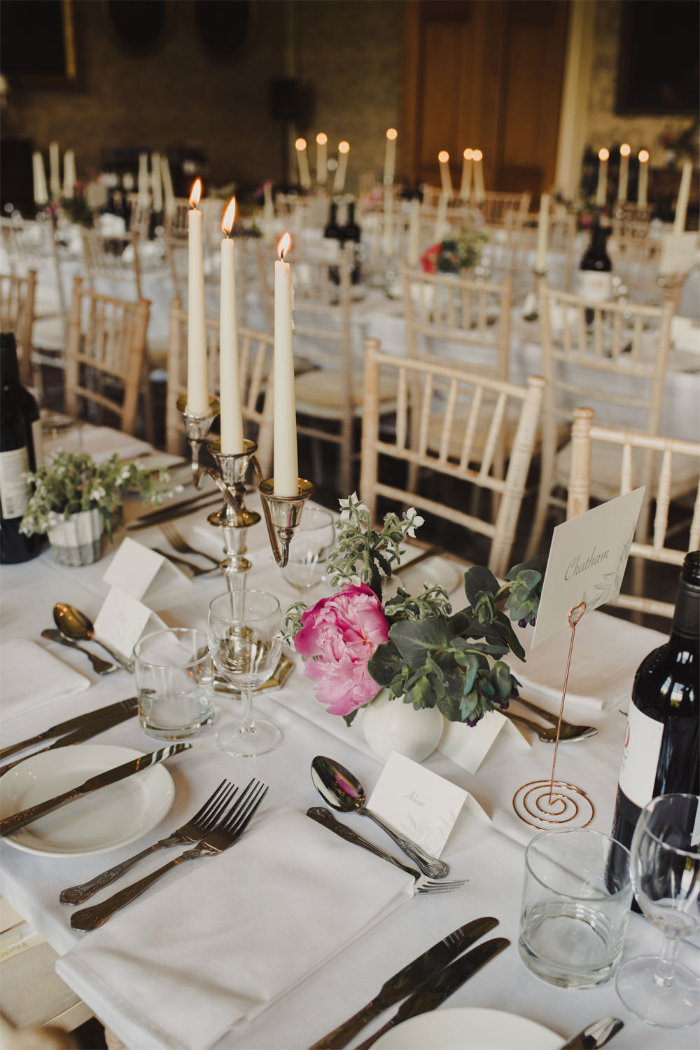 Long Tables Decor Candlesticks Flowers Cambo Estate Wedding Anna Urban Wedding Photography