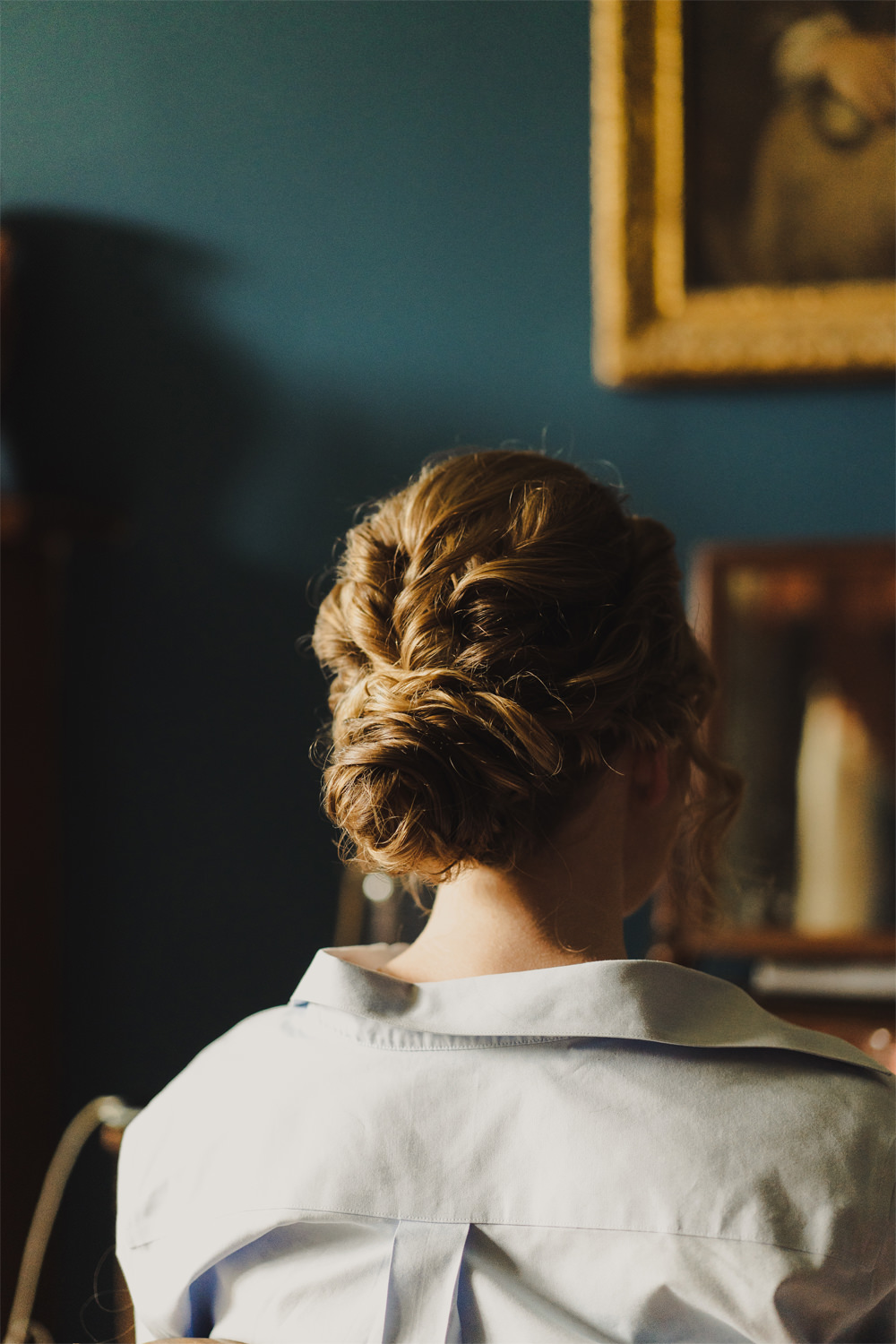 Bride Bridal Hair Style Up Do Bun Chignon Cambo Estate Wedding Anna Urban Wedding Photography