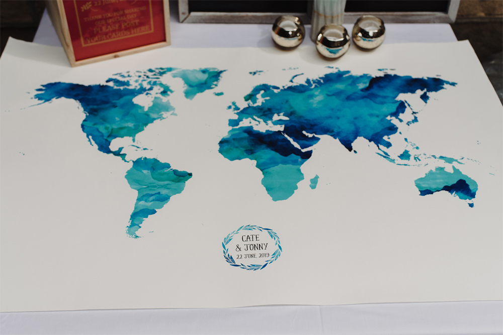 Map Travel Guest Book Cambo Estate Wedding Anna Urban Wedding Photography